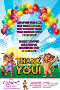 kiddys kingdom birthday party thank you card